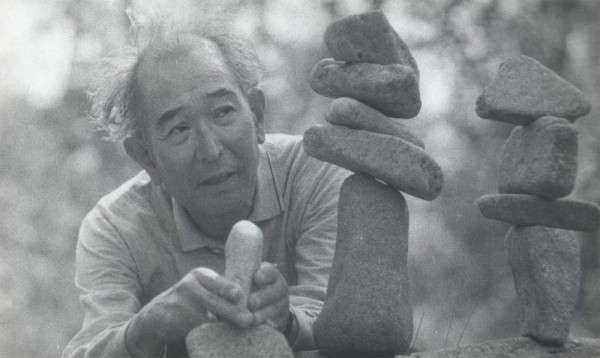 Kurosawa making a stone stack